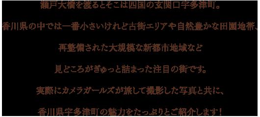 瀬戸大橋を渡るとそこは四国の玄関口宇多津町。香川県の中では一番小さいけれど古街エリアや自然豊かな田園地帯、再整備された大規模な新都市地域など見どころがぎゅっと詰まった注目の街です。実際にカメラガールズが旅して撮影した写真と共に、香川県宇多津町の魅力をたっぷりとご紹介します!